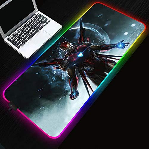 Alfombrilla de ratón superhéroe Iron Man RGB alfombrilla de ratón difusa iluminación LED alfombrilla de ratón XXL-Superhero_Iron_Man_400x900x4mm