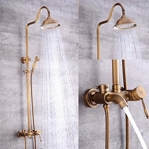 Jkckha norte de Europa Baño de ducha Conjunto Vintage Negro Cobre ducha cabezal de ducha de estilo antiguo europeo de cabeza Hermosa práctica