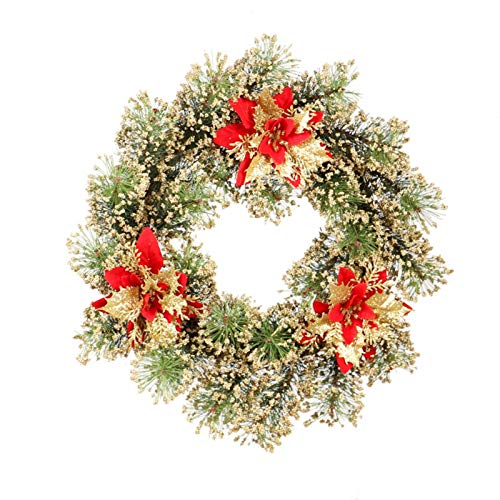 Christmas Wreath,17.7inch Elegant and Vivid Pine Needles + Red Gold Christmas Flowers Wooden Vine Rings Christmas Decoration,Strong Festive Atmosphere Wreath for Door, Wall, Fireplace