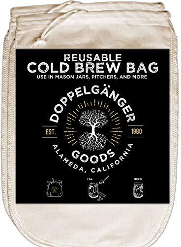 Bolsa de café de algodón orgánico con cordón de fácil apertura, diseñada en California, filtro de café reutilizable para jarras o frascos Mason (mediano, 20,3 x 30,5 cm)