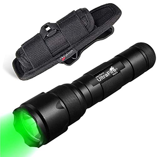 ULTRAFIRE 502B Linterna Táctica LED Luz Verde 525 nm Enfoque Ajustable Modo Singular Linterna de Caza Visión Nocturna, con Funda de Linterna, Mini Lámpara Verde Impermeable con Zoom