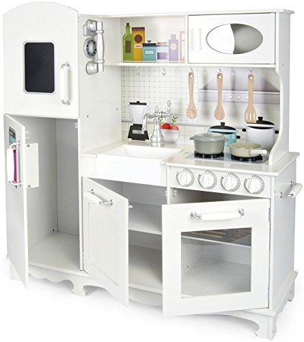 Leomark cucina Grande Big Vintage Retro, bianca giocattolo per bambini, gioco in legno, giocare educazione tavola divertimento, accessori per cucina bambini, dimensioni: 96x33x102cm (LxPxA)