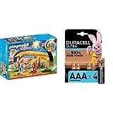 Playmobil - Christmas Belén con Luz y Patas Plegables, A Partir de 4 años (9494) + Duracell Ultra AAA con Powerchek, Pilas Alcalinas , Paquete de 4, 1,5 Voltios LR03 MX2400