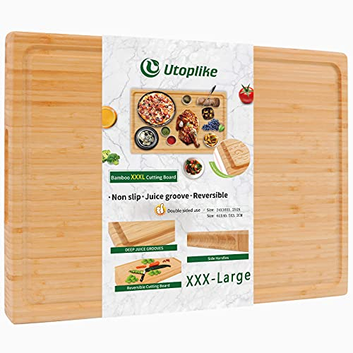 Extra Large XXXL Bamboo Cutting Board 24 x16 Inch,Largest Wooden Butcher Block for Turkey, Meat, Vegetables, BBQ, Over the Sink Chopping Board with Handle and Juice Groove