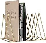 HZYDD Estantería de hierro forjado para escritorio, mini librería, libros, artículos de almacenamiento, periódicos, revistas (color: negro) (color: dorado)