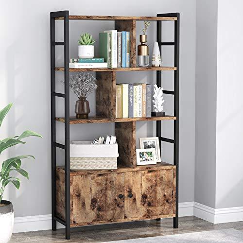 Tribesigns Bücherregal Lagerregal mit 3 Ablagen und 2 Türen, industrielles Bücherregal mit Schrank, 70 x 30 x 140 cm