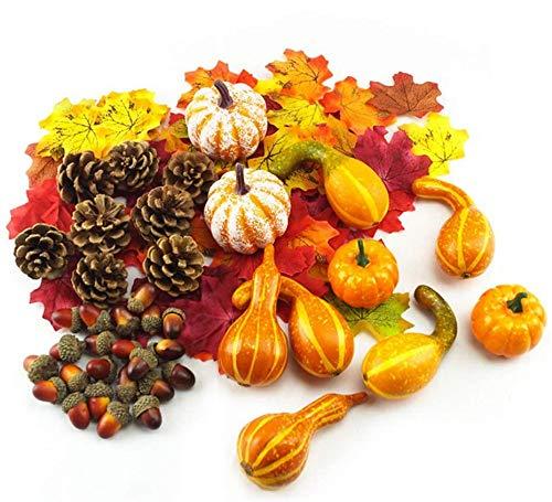 166 piezas de decoración de Halloween, incluidas mini calabazas artificiales, hojas de arce otoñal, bellotas, calabazas, piñas, decoración de mesa de Halloween