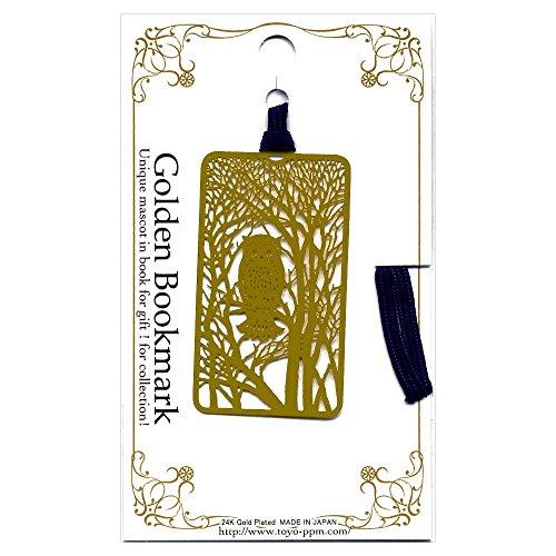金のしおり フクロウ A021 フォトエッチング 24金メッキ ギフトやコレクションに!Golden Bookmark 東洋精密工業