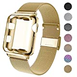 GBPOOT Compatible for Apple Watch Band 38mm 40mm 42mm 44mm with Screen Protector Case, Sports Wristband Strap Replacement Band with Protective Case for Iwatch Series 5/4/3/2/1,42mm,Yellow Gold