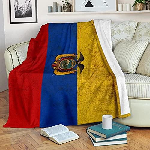 HUA5D Ecuador Flagge Decke Kuscheldecke Flauschig Kinder Jungen Mädchen 150X200 Kuscheldecke 3D Druck,Decke Warm Decke Flanell Fleece Sofa Decken Mikrofaser Wohndecke Bettdecke(A450)