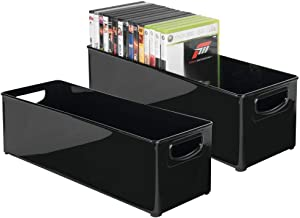 mDesign Plastic Stackable Household Storage Organizer Container Bin with Handles - for Media Consoles, Closets, Cabinets - Holds DVD's, Video Games, Gaming Accessories, Head Sets - 2 Pack - Black