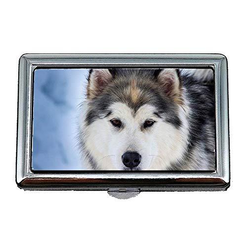 Zigaretten-Aufbewahrungsbehälter/Box, Tiere Hund Haustier Natur Husky Schlitten Hund, Visitenkartenetui Visitenkartenetui Edelstahl
