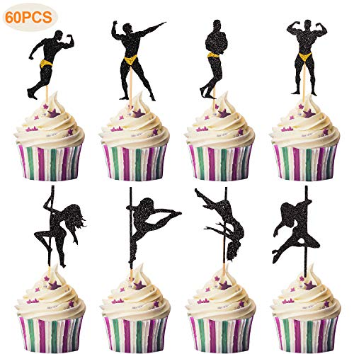 Blulu 60 Piece Strippers Cupcake Toppers Male Dancers Cupcake Toppers Girl Pole Dance Cupcake Toppers Pole Dance Silhouette Birthday Cake Decor for Party Birthday Decorations