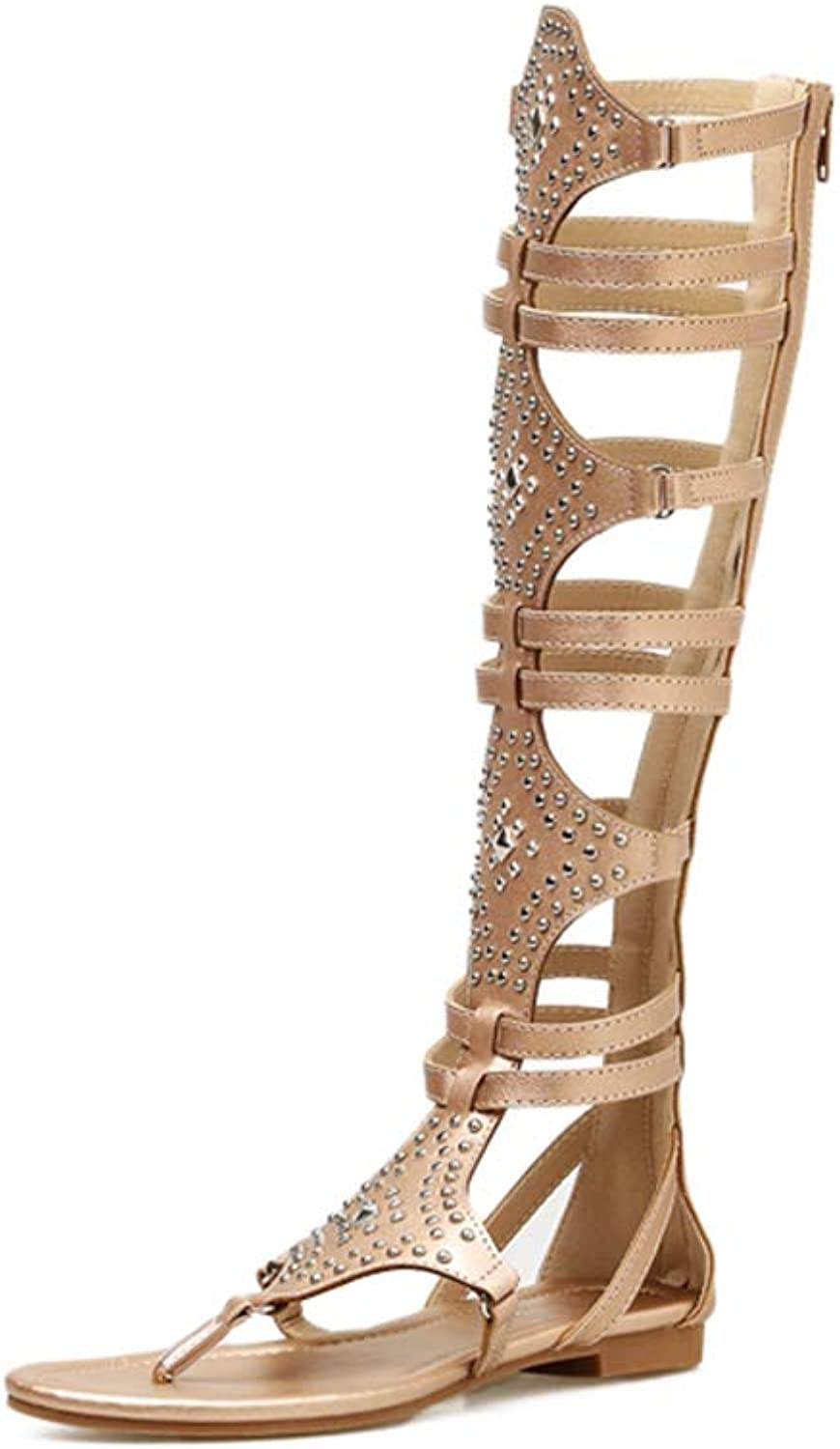 Women's Fashion Studded Knee High Gladiator Flat Outdoor Sandals Back Zip shoes,gold,5MUS