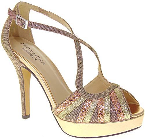 MENBUR Pacomena 06319 Chaussures à talon pour femme - Multicolore - Nu, 39 EU EU