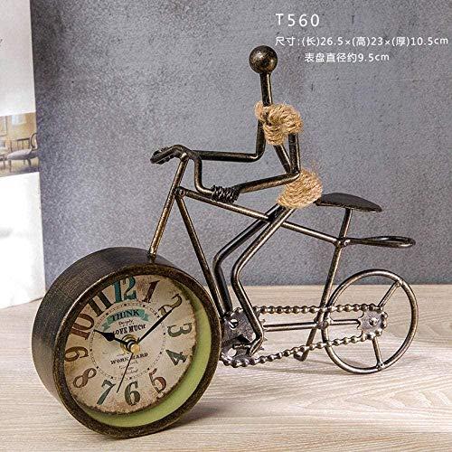 WQQLQX Statue BMX Norde European Retro Kreative Fahrraduhr Amerikanisch Personalisierte Wohnzimmer Uhr Schreibtisch Dekorative Uhr Dekoration Skulpturen (Color : 1)