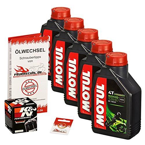 Motul 10W-40 Öl + K&N Ölfilter für Suzuki VS 1400 Intruder, 87-03, VX51L - Ölwechselset inkl. Motoröl, Filter, Dichtring
