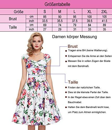Frauen 50s Retro A-Linie Baumwolle Partykleid Mode 1950er M CL008901-11 - 3