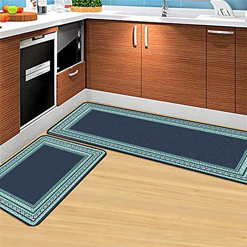 Keuken loper wasbaar antislip, anti-slip comfort keuken runner mat 2 stuks, eenvoudige donkerblauw groen bloemen rand polyester rugcoating wasbaar binnen vloerbedekking voor keuken en badkamer 50x80cm+50x120cm blauw