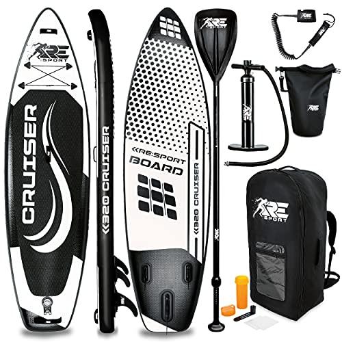 RE:SPORT SUP Board Set aufblasbar | Stand Up Paddle Board mit Zubehör | Paddling Surfbrett | Surfboard für Einsteiger & Fortgeschrittene (Schwarz, 320cm)