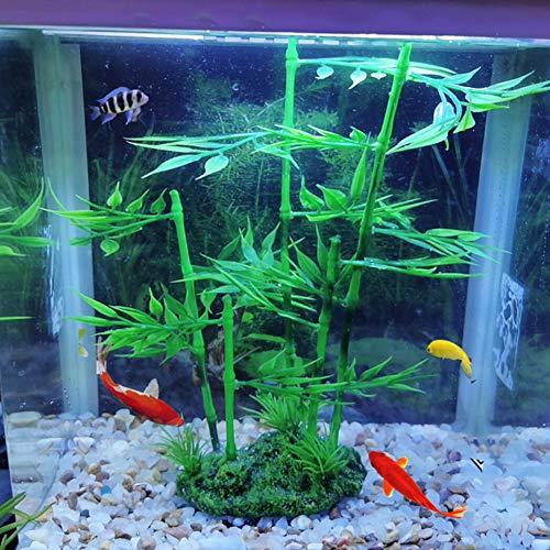 Caiqinlen ● Regalos para la Familia Simulación de bambú Artificial Bluestone Safe Fish TankSimulación de césped, césped Artificial de Acuario, para pecera(Bluestone and Yuzhu)
