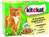 Kitekat Cibo per Gatto, Il Curioso Esploratore in Gelatina con Carni Bianche, Pollo, Anatra, Tacchino 12 x 100 g - Cibo per Gatto - 4 Confezioni (48 Bustine in Totale)