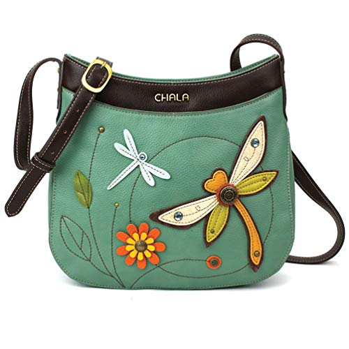 Chala Crescent Crossbody with Adjustable Strap - Dragonfly - Teal