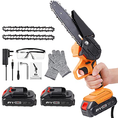 Mini Chainsaw Cordless, 6-Inch Battery Powered Chainsaw with 2 Rechargeable Battery, One-Handed Portable Electric Chainsaw for Branch Wood Cutting Garden Tree Logging Trimming