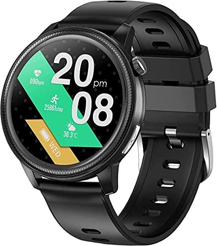 YLB Hombres Smart Watch Fitness Tracker 1 28 Pantalla táctil con termómetro de Temperatura Corporal con presión Arterial/Ritmo cardíaco / SpO2 Podómetro IP67 Impermeable para Android iOS
