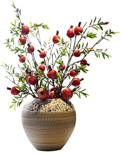 TINGFENG Jarrón de cerámica hecho a mano para decoración del hogar, decoración del hogar, incluye flores secas, 28 x 28 cm