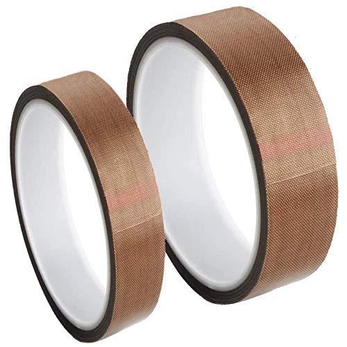 2 Stücke Teflon Band PTFE Klebeband, Hochtemperaturband, Teflon Klebeband für Vakuumierer, 2 Größen Dicke 0,13 mm, Länge 10 m Teflon Hochtemperaturband für Vakuum-Handimpulsversiegelungen