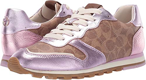 COACH C118 Runner with Signature Coated Canvas with Metallic Tan/Pink 5.5