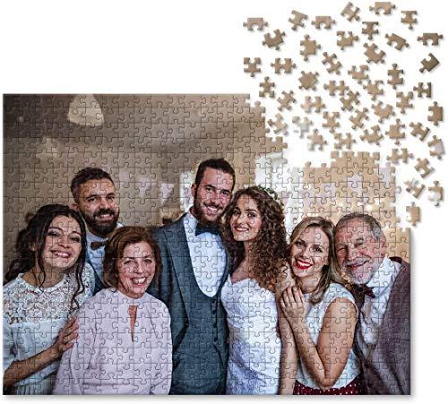 Fotopuzzle mit Eigenem Bild Selber Gestalten, Personalisiertes Foto Puzzle 1000 Teile Holz Rätsel Schachtel Persönliches Geschenk für Partner Paare Kinder Familie Freund