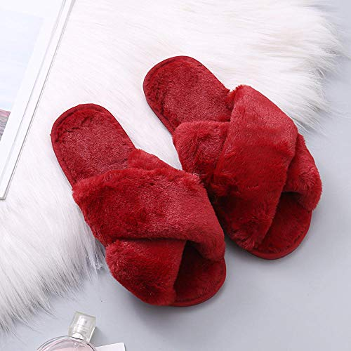 Memory AlgodóN Pantuflas CóModo Y Suave,Zapatillas de felpa antideslizantes de fondo plano, zapatillas de algodón para el hogar interior-Vino tinto_36-37,Mujer Peluche Memory Foam Zapatillas De Cas