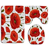 N\A Red Poppy Flower Ladybug Alfombra de baño Set 3PCS Alfombra de baño Antideslizante Contorno, tapete y Tapa de Inodoro