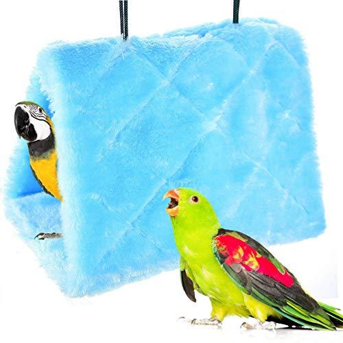 MATT SAGA Nido D uccello Pappagallo d inverno Caldo Amaca Appesa Grotta Gabbia Peluche Pappagallo Giocattolo Letto Capanna Tenda (L, Blu)