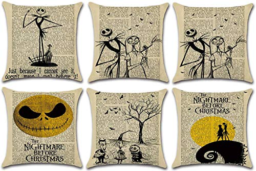 HKPLDE 6 Pieces Throw Pillow Covers, Halloween Decorative Pillow Cases Linen Pillow Square Cushion Cover For Sofa, Couch, Bed-6 Pieces-45x45cm(18x18inch)