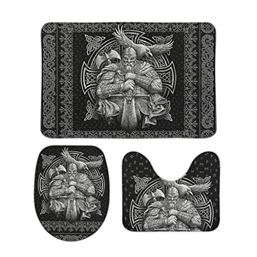 Tentenentent Viking Odin Ravens - Juego de 3 accesorios de baño (forma de U, antideslizante, para baño, decorativo, 50 x 80 cm), color blanco