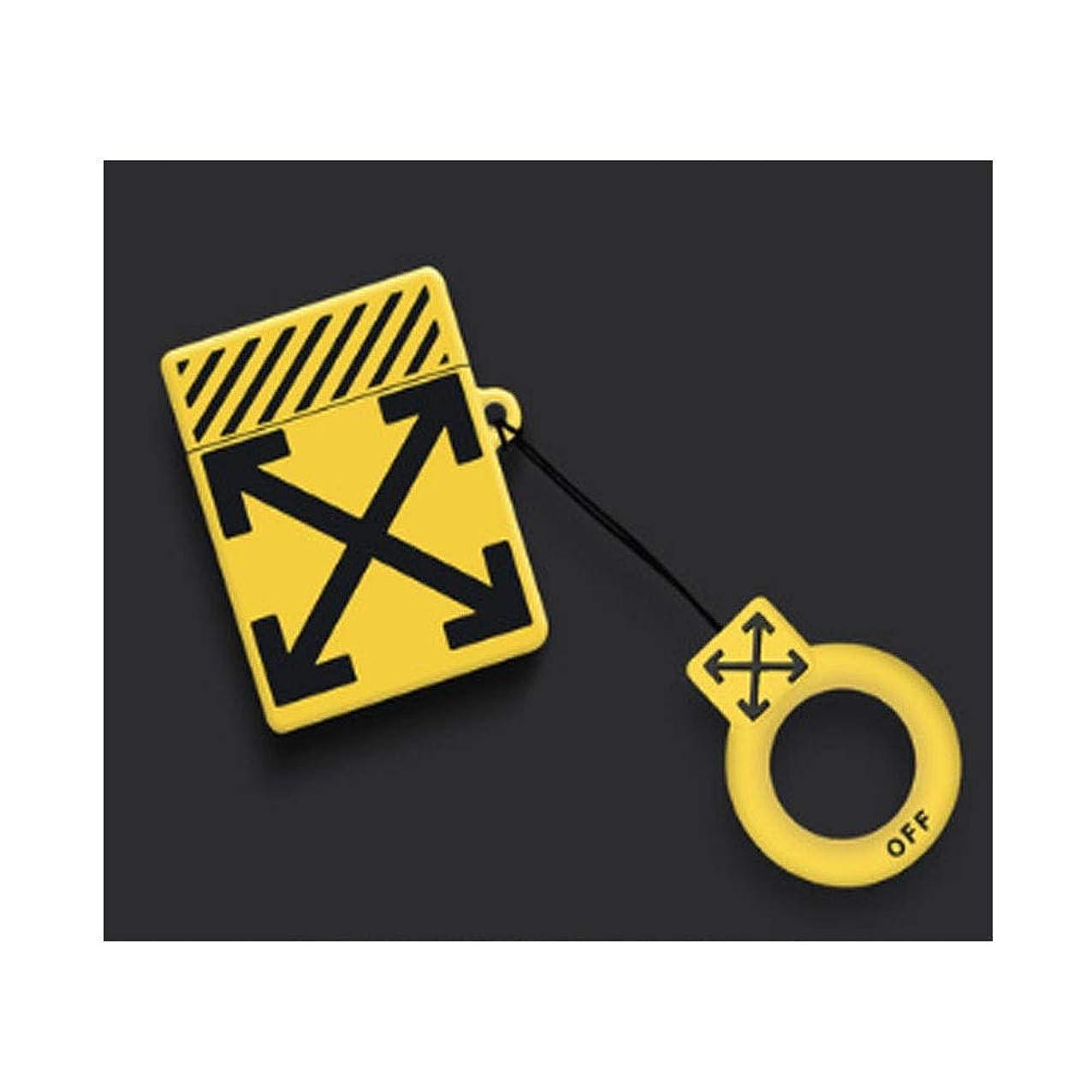 筋マークされたアウターFengshangshanghang ヘッドホンセット、防滴AirPodsケース、防滴性と耐久性、快適な使用、美しい贈り物(黒、白、黄色) 優雅な (Color : Yellow)