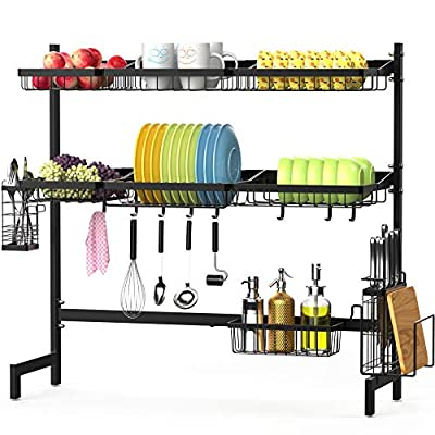 Over the Sink Dish Drying Rack, F-color 2 Tier Large Stainless Steel Dish Drying Rack for Kitchen Counter, Dish Drainer Shelf with Utensils Holder, Black by