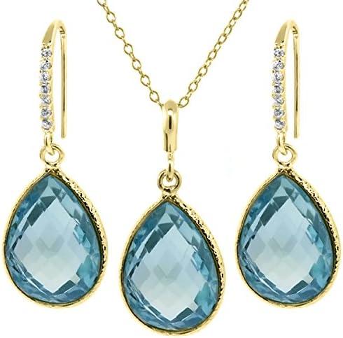 Gem Stone King 22.50 Ct Blue Shape 16x12mm Plate Gold Topaz Max Seasonal Wrap Introduction 68% OFF Pear