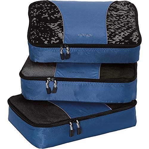 eBags Medium Classic Packing Cubes for Travel - 3pc Set - (Denim)