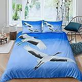 Funda de edredón estilo Japón Flying Crane juego de cama azul Sky funda de edredón para niños y niñas y adolescentes bonita cama 3D Animal colcha funda individual con 1 funda de almohada