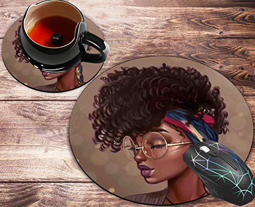 Round Mouse Pad and Coasters Set, African American Women Girl Mousepad, Anti Slip Rubber Round Mousepads Desktop Notebook Mouse Mat for Working and Gaming