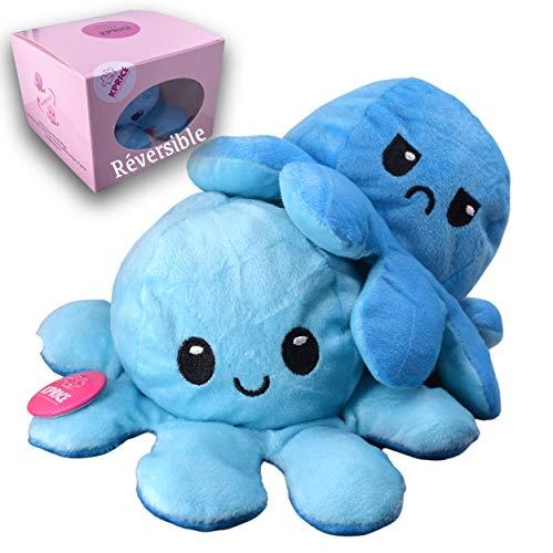 Kprice Soft Animal Doll Plüsch Reversible Oktopus Moody Octopus, doppelseitige Emotion Spielzeug, nummeriert Kind und Erwachsener Puppe, kommt ursprünglichen limitierten Box (BleuCielBleu)