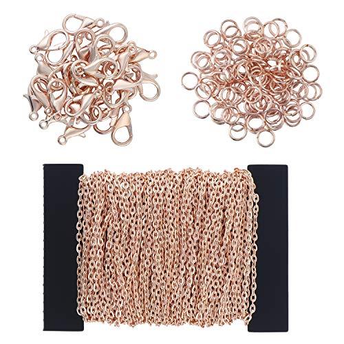 Coolty 39 Füße Kabel Kette Halskette, DIY Link Kette Ketten Gliederkette Halsketten mit 100 Biegeringe und 30 Karabiner für Schmuck Herstellung(Rose Gold)