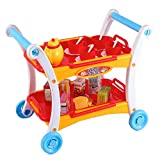 Liberty Imports Afternoon Tea Time Trolley Cart Pretend Play Set for Tea Party - Tea Pot, Cups, Utensils, Removable Tray for Serving (23 Pieces)