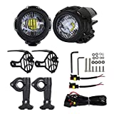 Urben Life Phare Moto Feux Additionnels LED, Phare Antibrouillard Auxiliaire avec Supports en Métal, Boîtier en Aluminium Moulé pour Camion Moto BMW BMW (Pack De 2)