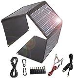 Cargador solar plegable 28W panel solar 2 puertos USB 1 puerto DC portátil impermeable QC3.0 cargador solar de carga rápida para camping, teléfonos móviles, banco de energía