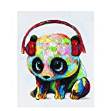 Acrylic Paint by Number Kit On CanvasDIY Oil Paint by Numbers for Kids 16X12 inch Painting on Canvas(1416 Panda Wearing Headphones)